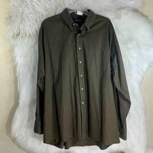 Gant Chocolate Brown 100% Button Front Size 17.5 C
